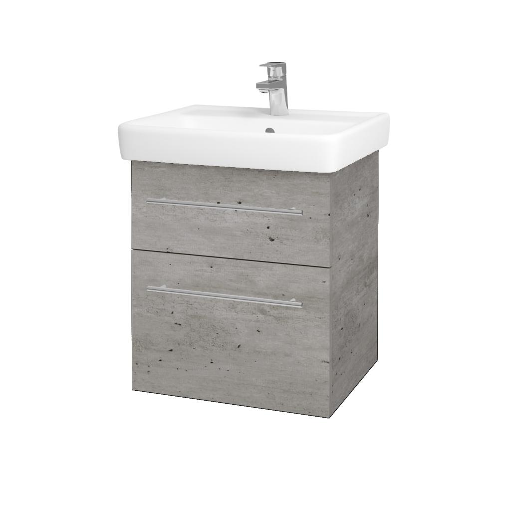 Dreja - Kúpeľňová skriňa Q MAX SZZ2 55 - D01 Beton / Úchytka T02 / D01 Beton (67512B)