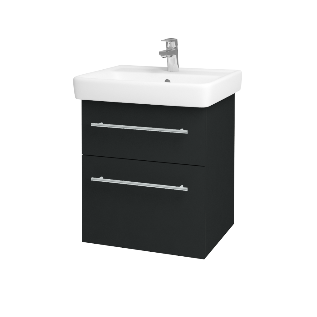 Dreja - Kúpeľňová skriňa Q MAX SZZ2 55 - L03 Antracit vysoký lesk / Úchytka T02 / L03 Antracit vysoký lesk (60360B)