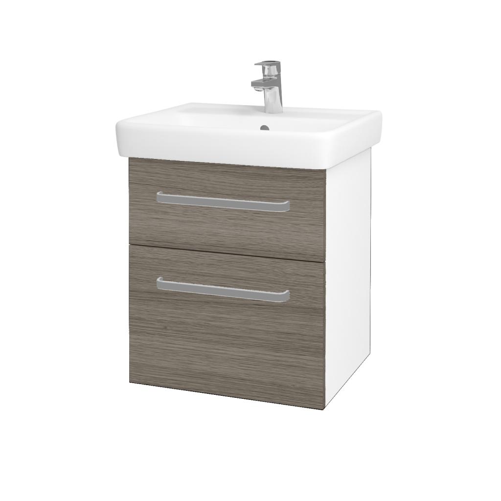 Dreja - Kúpeľňová skriňa Q MAX SZZ2 55 - N01 Bílá lesk / Úchytka T01 / D03 Cafe (68397A)