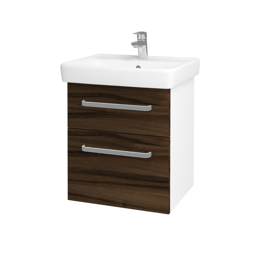 Dreja - Kúpeľňová skriňa Q MAX SZZ2 55 - N01 Bílá lesk / Úchytka T01 / D06 Ořech (61237A)