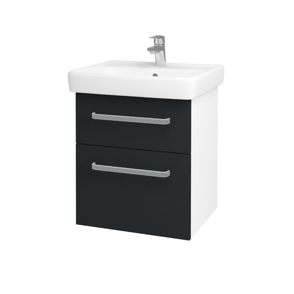 Dreja - Kúpeľňová skriňa Q MAX SZZ2 55 - N01 Bílá lesk / Úchytka T01 / L03 Antracit vysoký lesk (61244A)