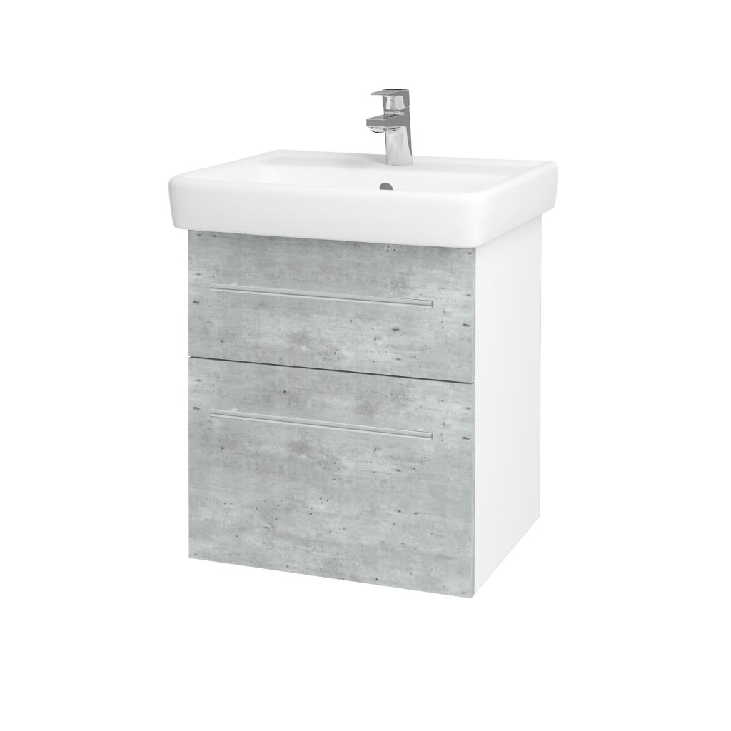 Dreja - Kúpeľňová skriňa Q MAX SZZ2 55 - N01 Bílá lesk / Úchytka T02 / D01 Beton (67475B)