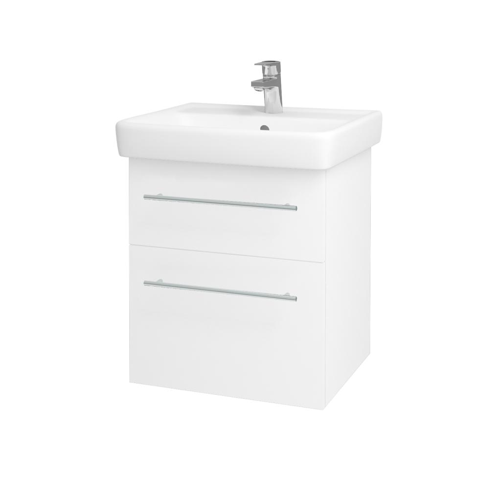 Dreja - Kúpeľňová skriňa Q MAX SZZ2 55 - N01 Bílá lesk / Úchytka T02 / L01 Bílá vysoký lesk (61251B)