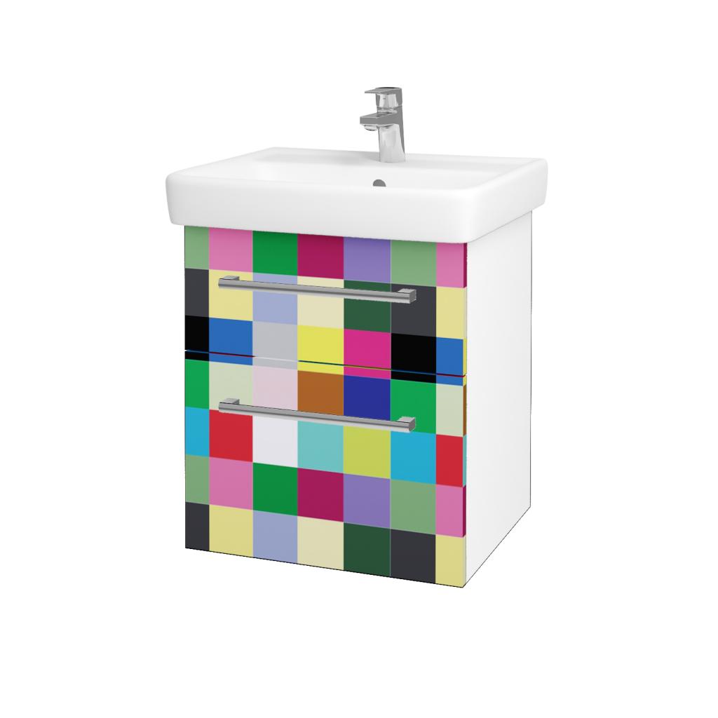 Dreja - Kúpeľňová skriňa Q MAX SZZ2 55 - N01 Bílá lesk / Úchytka T03 / IND Individual (61541C)