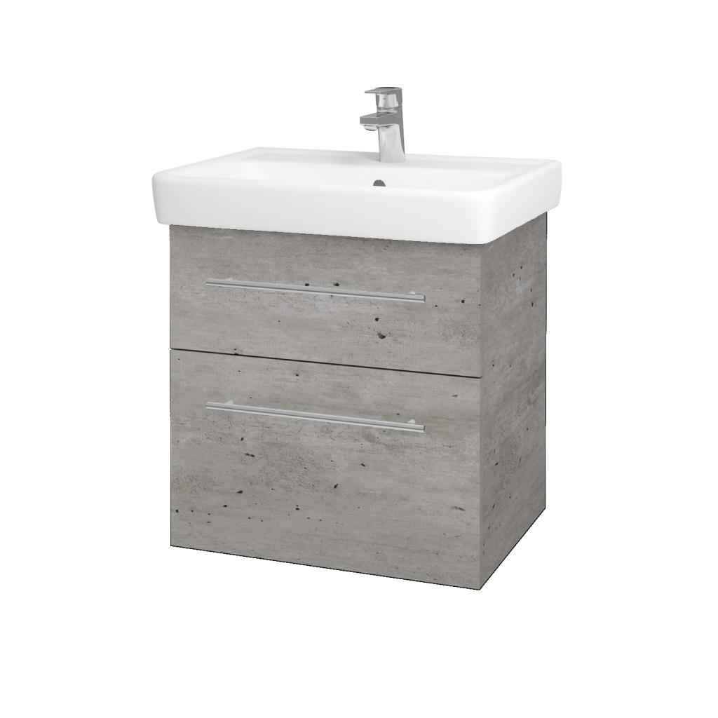 Dreja - Kúpeľňová skriňa Q MAX SZZ2 60 - D01 Beton / Úchytka T02 / D01 Beton (67529B)