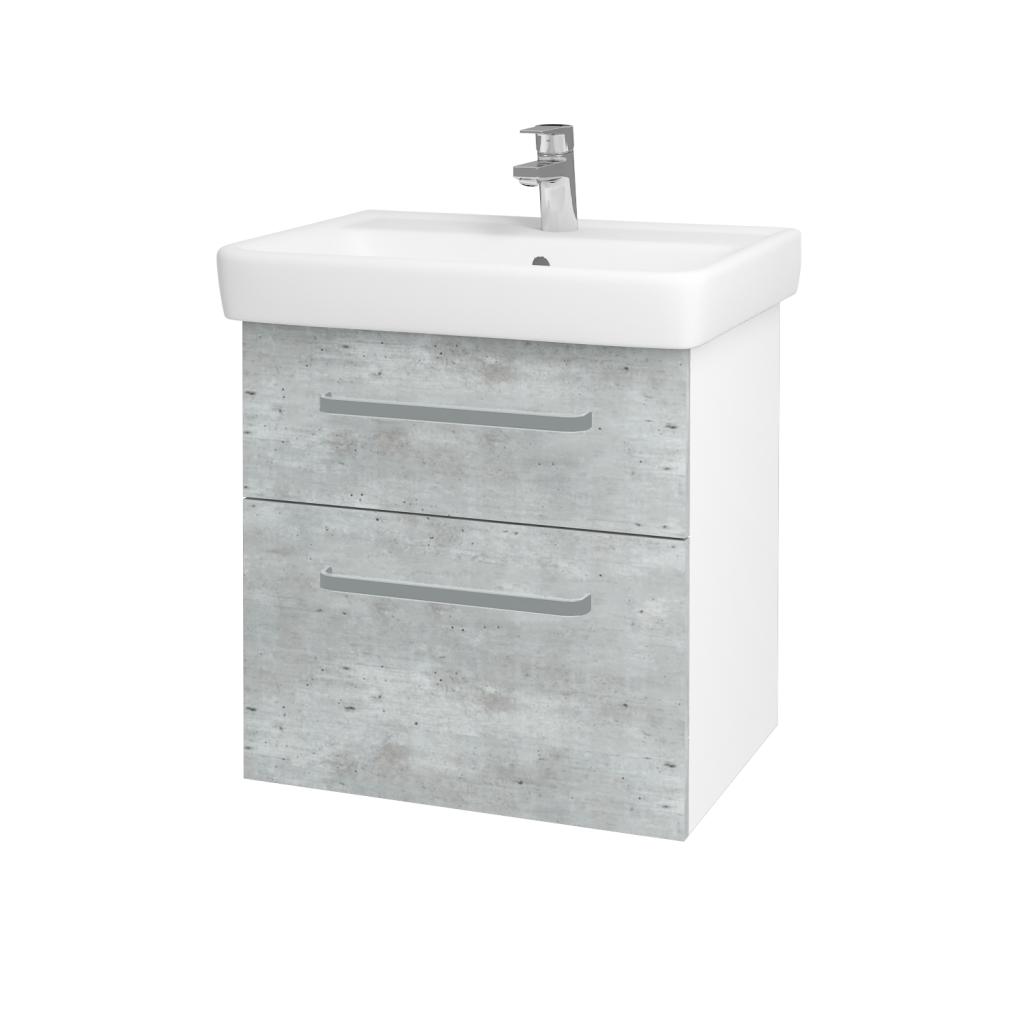 Dreja - Kúpeľňová skriňa Q MAX SZZ2 60 - N01 Bílá lesk / Úchytka T01 / D01 Beton (67482A)
