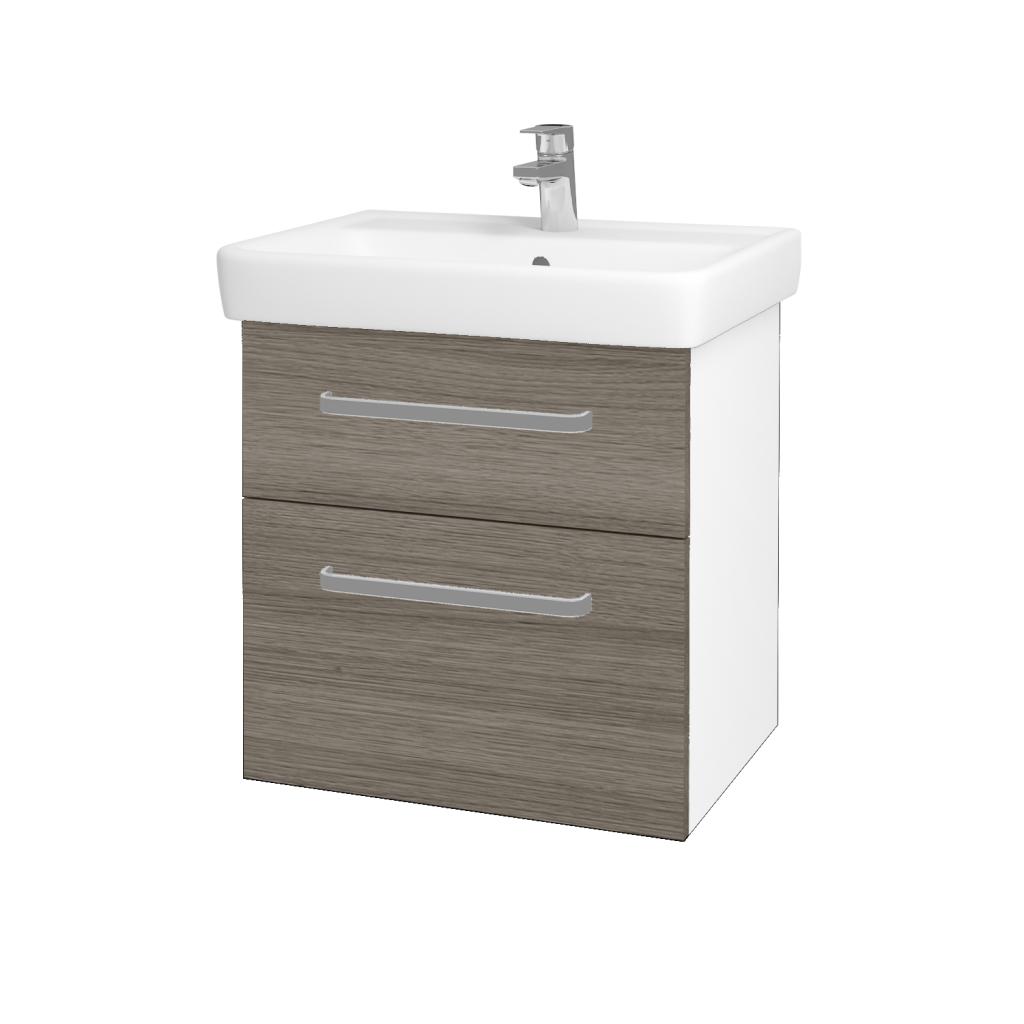 Dreja - Kúpeľňová skriňa Q MAX SZZ2 60 - N01 Bílá lesk / Úchytka T01 / D03 Cafe (68403A)