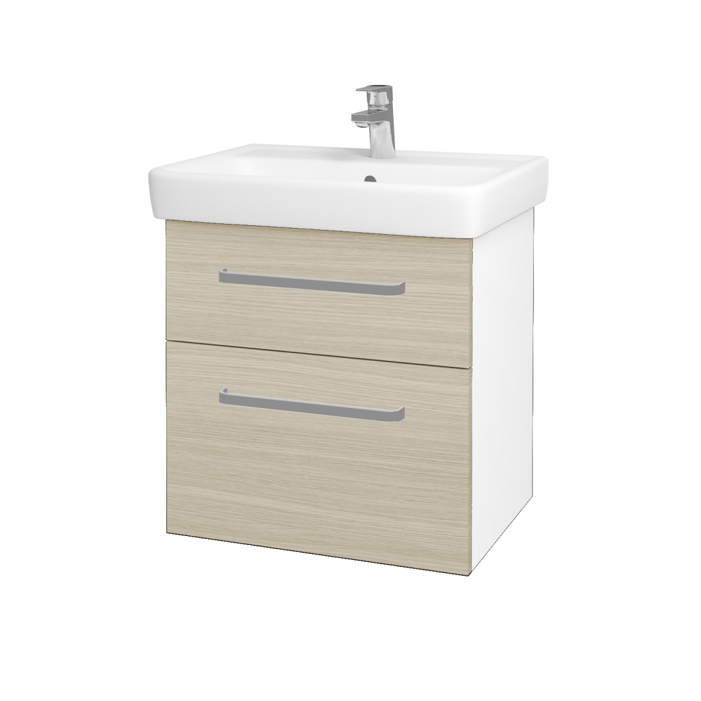 Dreja - Kúpeľňová skriňa Q MAX SZZ2 60 - N01 Bílá lesk / Úchytka T01 / D04 Dub (60223A)