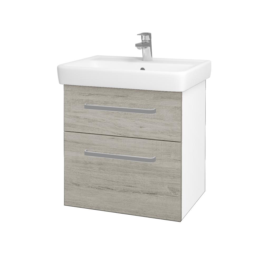 Dreja - Kúpeľňová skriňa Q MAX SZZ2 60 - N01 Bílá lesk / Úchytka T01 / D05 Oregon (61725A)