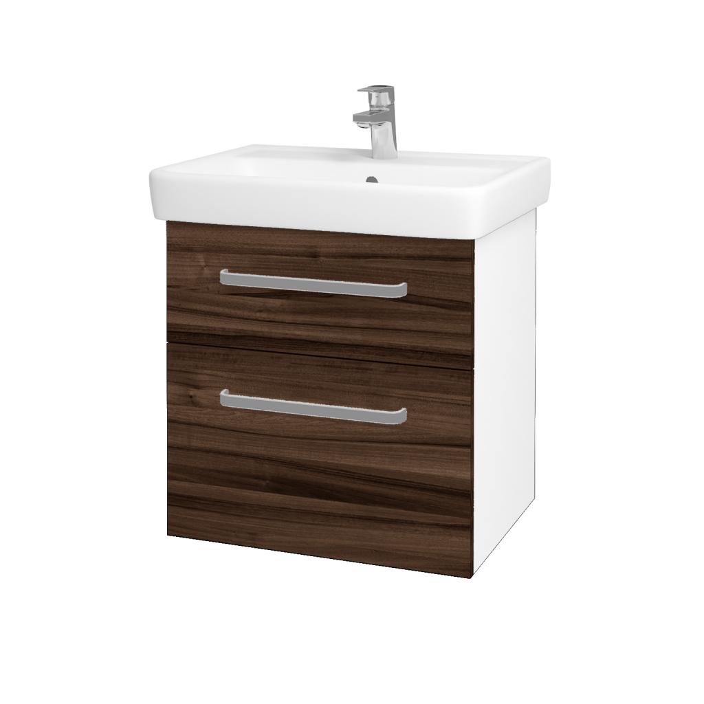Dreja - Kúpeľňová skriňa Q MAX SZZ2 60 - N01 Bílá lesk / Úchytka T01 / D06 Ořech (60230A)