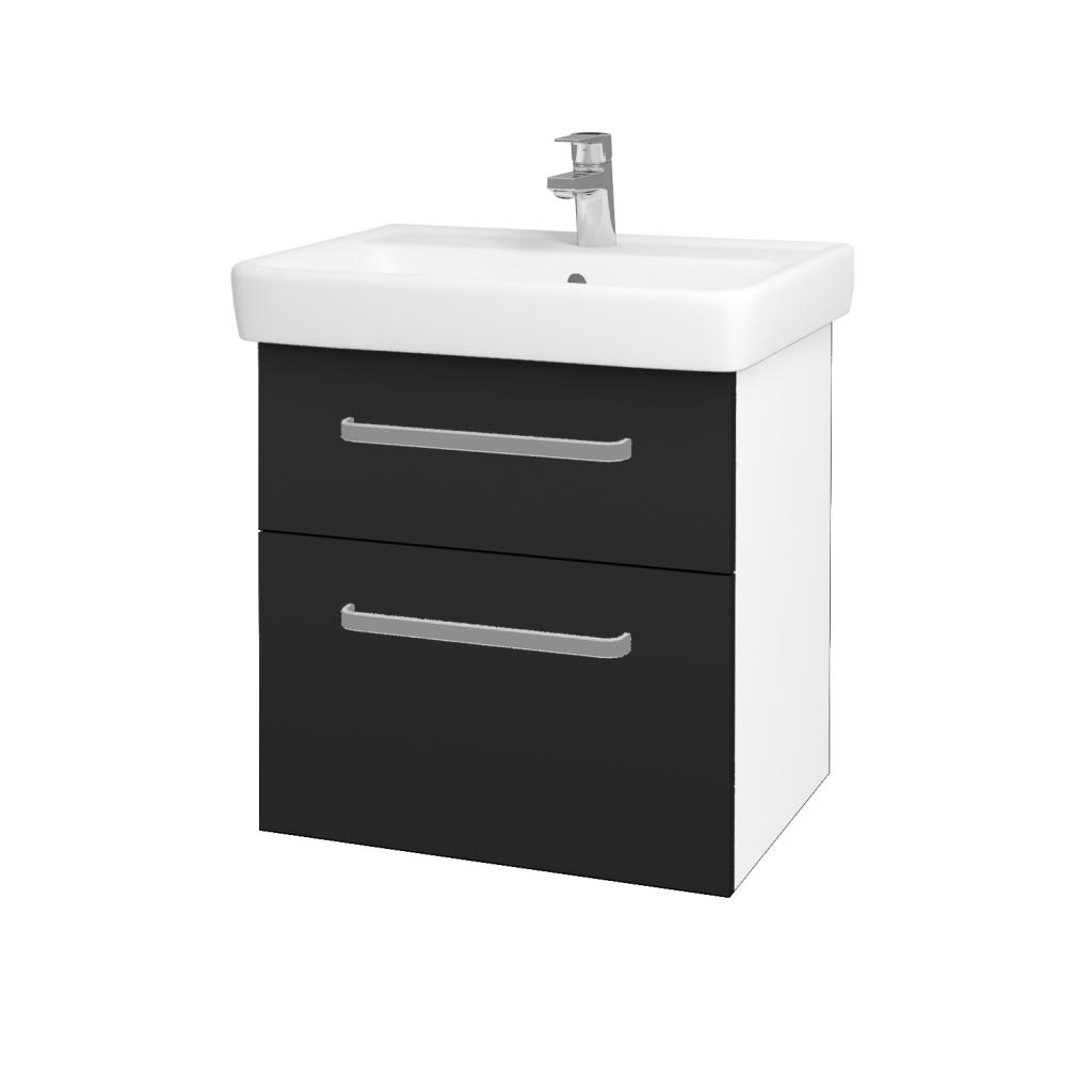 Dreja - Kúpeľňová skriňa Q MAX SZZ2 60 - N01 Bílá lesk / Úchytka T01 / L03 Antracit vysoký lesk (60100A)