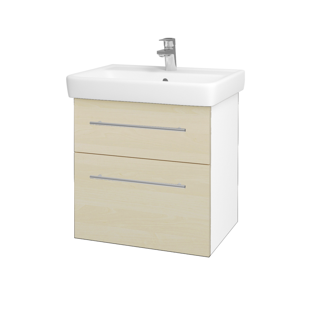 Dreja - Kúpeľňová skriňa Q MAX SZZ2 60 - N01 Bílá lesk / Úchytka T02 / D02 Bříza (60025B)