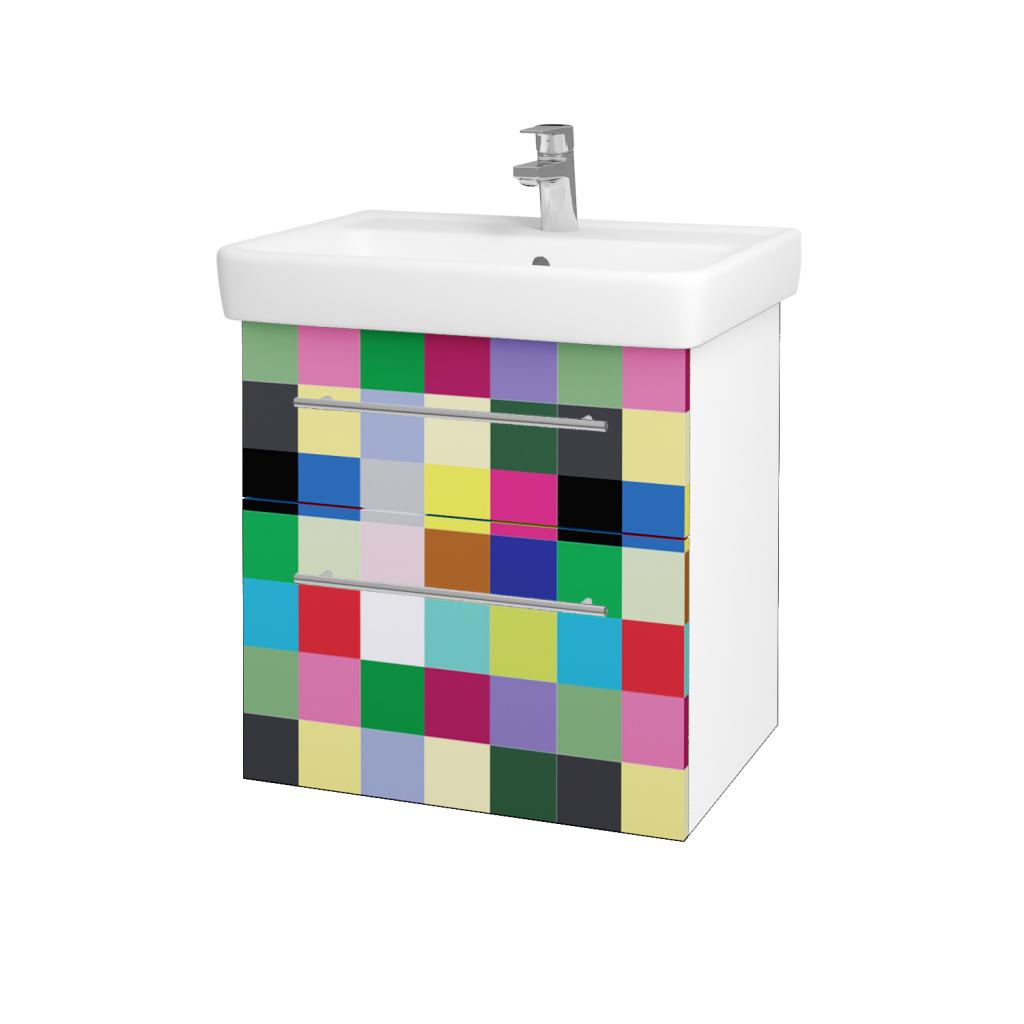 Dreja - Kúpeľňová skriňa Q MAX SZZ2 60 - N01 Bílá lesk / Úchytka T02 / IND Individual (61558B)