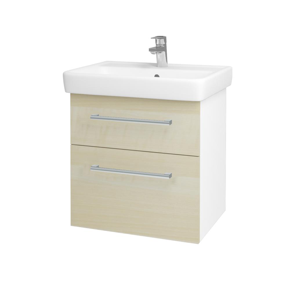 Dreja - Kúpeľňová skriňa Q MAX SZZ2 60 - N01 Bílá lesk / Úchytka T03 / D02 Bříza (60025C)