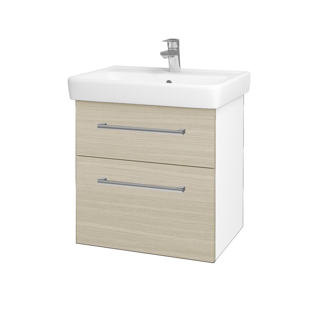 Dreja - Kúpeľňová skriňa Q MAX SZZ2 60 - N01 Bílá lesk / Úchytka T03 / D04 Dub (60223C)