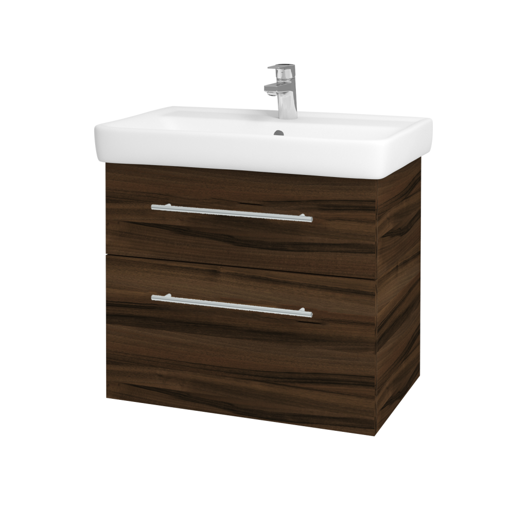 Dreja - Kúpeľňová skriňa Q MAX SZZ2 70 - D06 Ořech / Úchytka T02 / D06 Ořech (60414B)