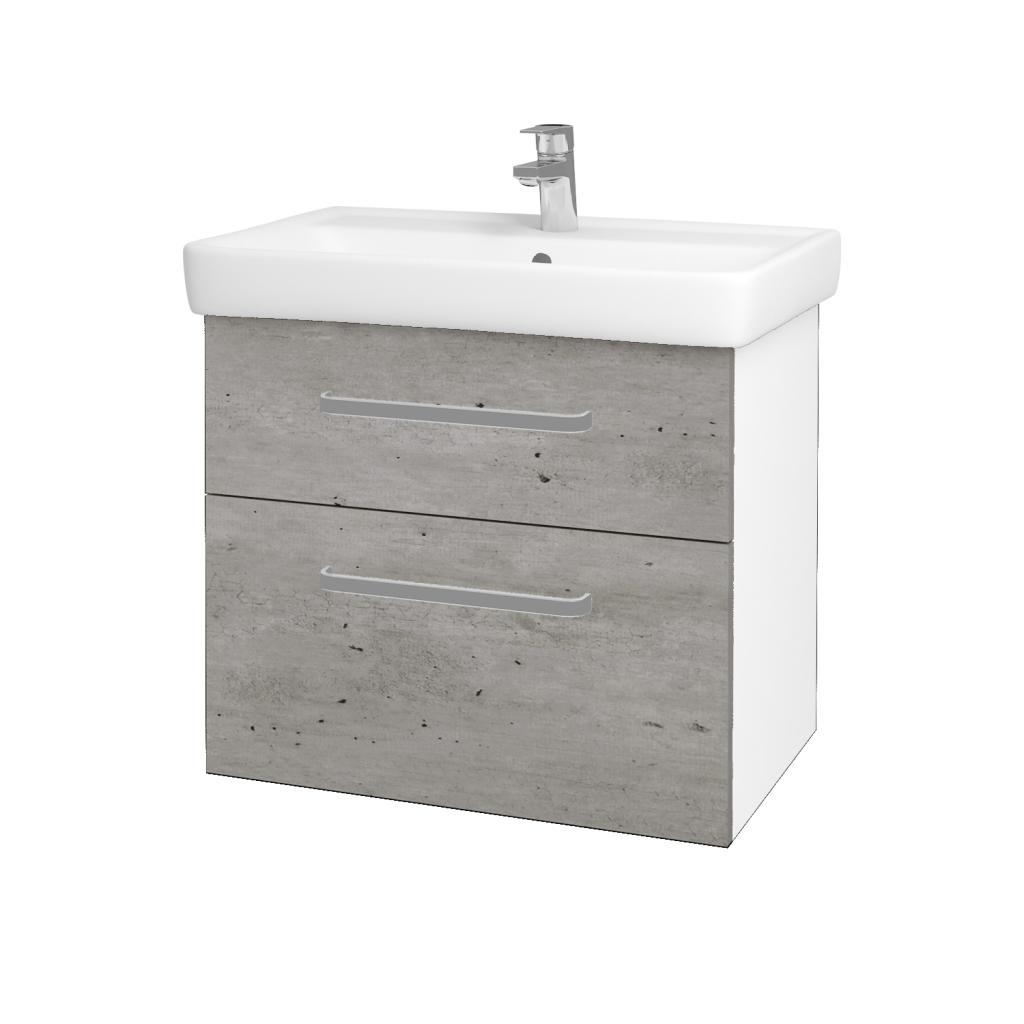 Dreja - Kúpeľňová skriňa Q MAX SZZ2 70 - N01 Bílá lesk / Úchytka T01 / D01 Beton (67499A)