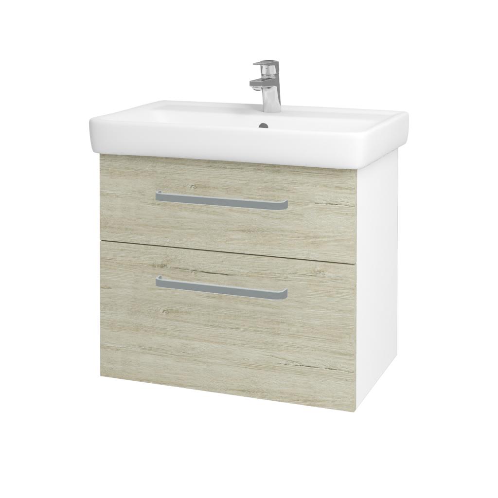 Dreja - Kúpeľňová skriňa Q MAX SZZ2 70 - N01 Bílá lesk / Úchytka T01 / D05 Oregon (61732A)