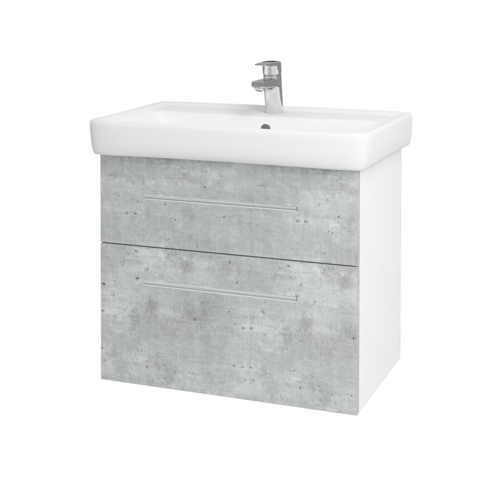 Dreja - Kúpeľňová skriňa Q MAX SZZ2 70 - N01 Bílá lesk / Úchytka T02 / D01 Beton (67499B)