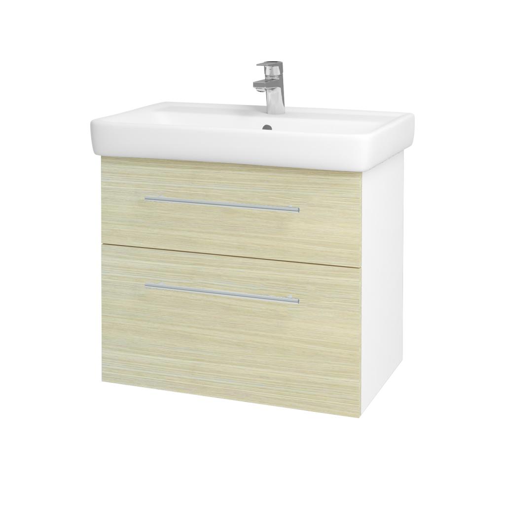 Dreja - Kúpeľňová skriňa Q MAX SZZ2 70 - N01 Bílá lesk / Úchytka T02 / D04 Dub (60247B)