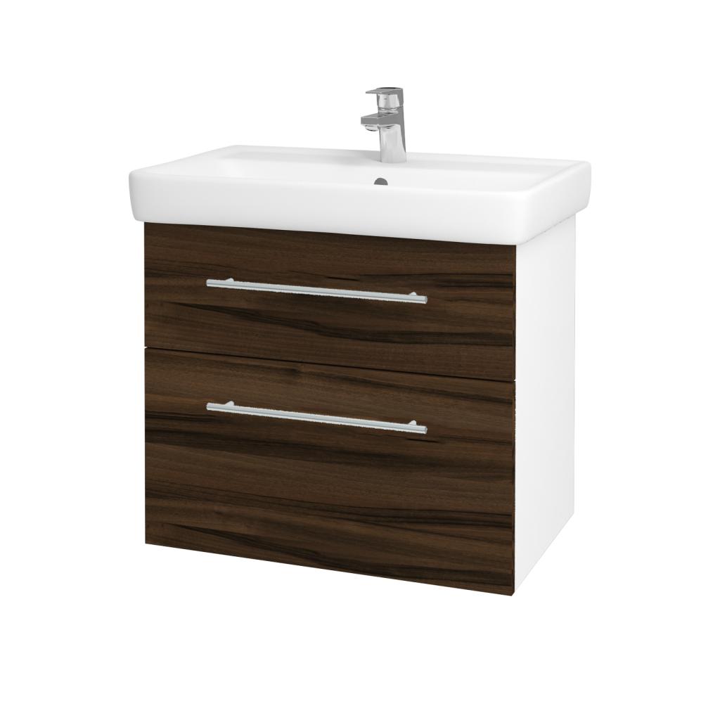 Dreja - Kúpeľňová skriňa Q MAX SZZ2 70 - N01 Bílá lesk / Úchytka T02 / D06 Ořech (60254B)