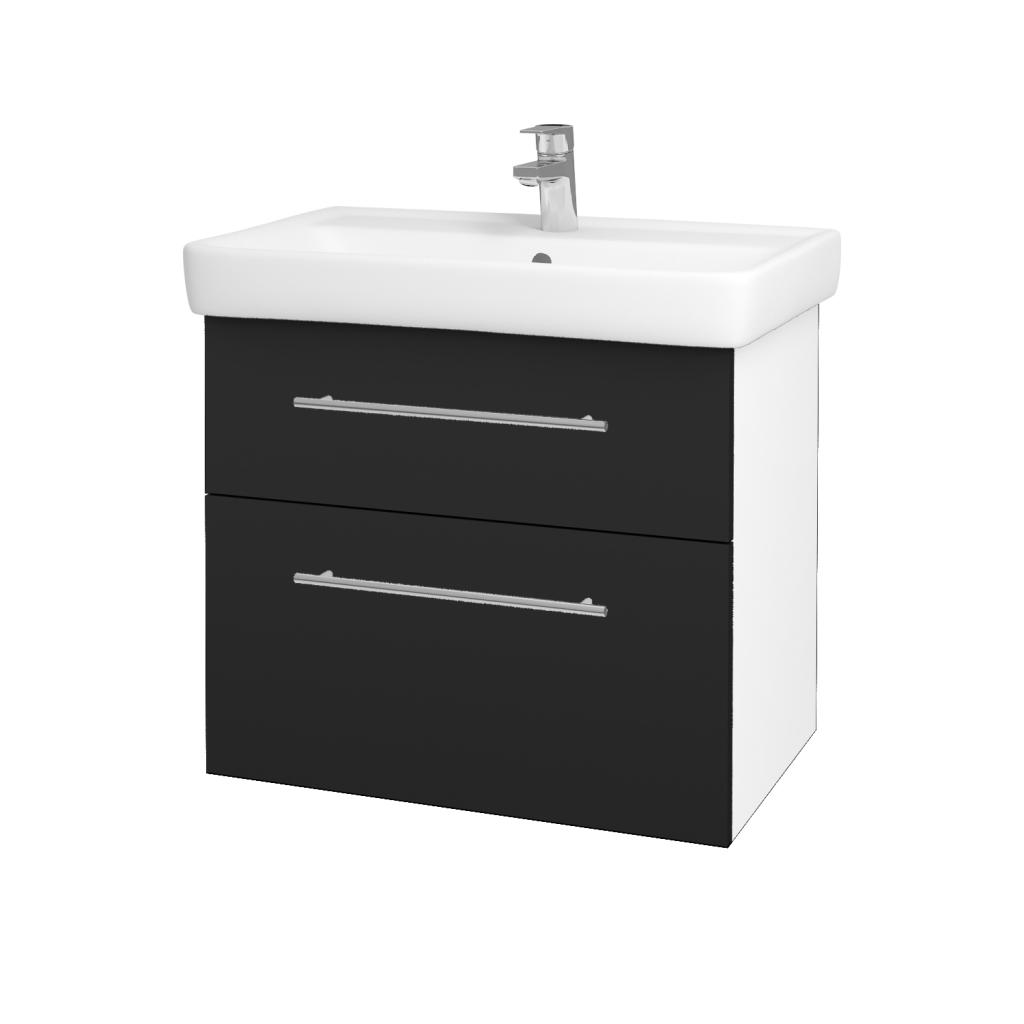 Dreja - Kúpeľňová skriňa Q MAX SZZ2 70 - N01 Bílá lesk / Úchytka T02 / L03 Antracit vysoký lesk (60148B)