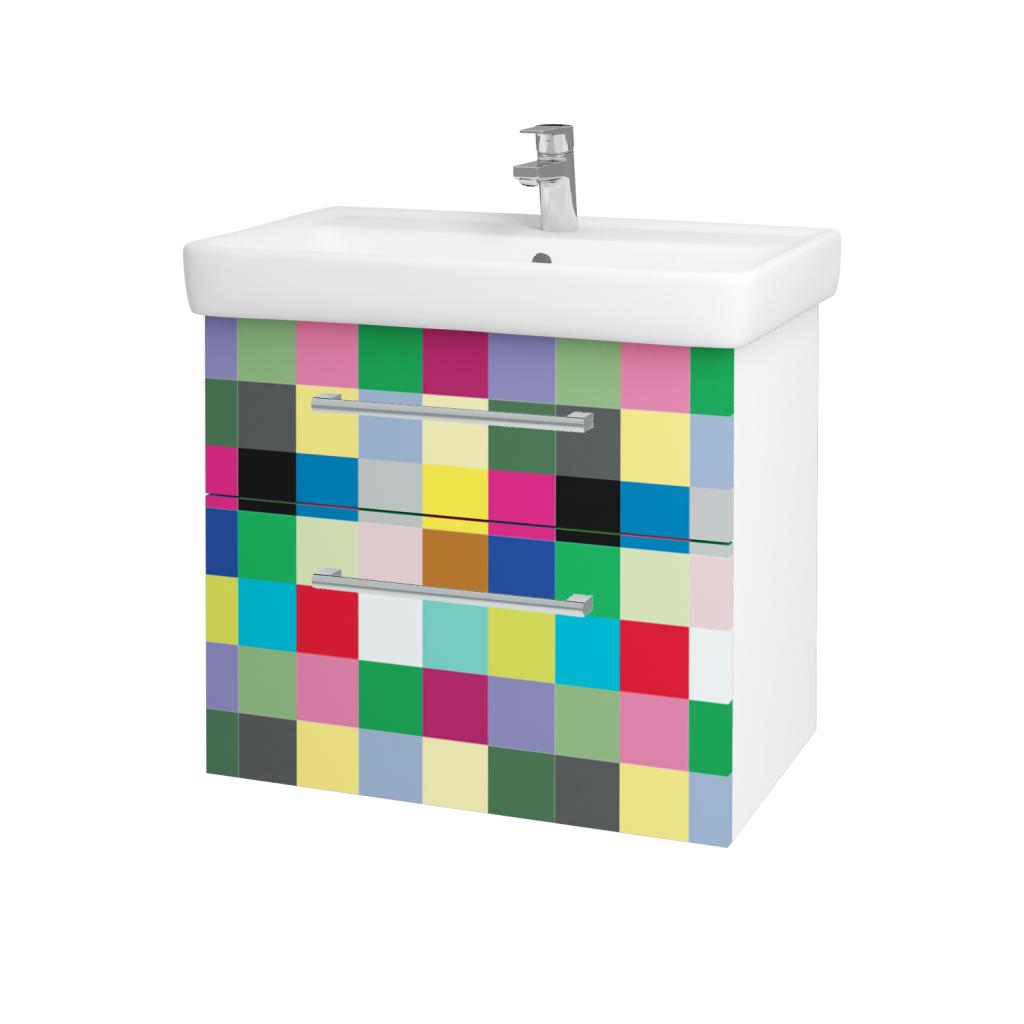 Dreja - Kúpeľňová skriňa Q MAX SZZ2 70 - N01 Bílá lesk / Úchytka T03 / IND Individual (61565C)