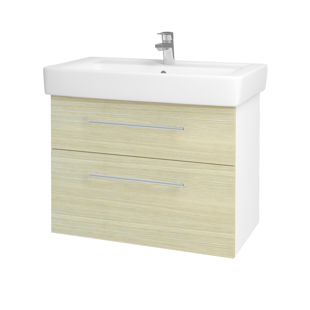 Dreja - Kúpeľňová skriňa Q MAX SZZ2 80 - N01 Bílá lesk / Úchytka T02 / D04 Dub (60261B)