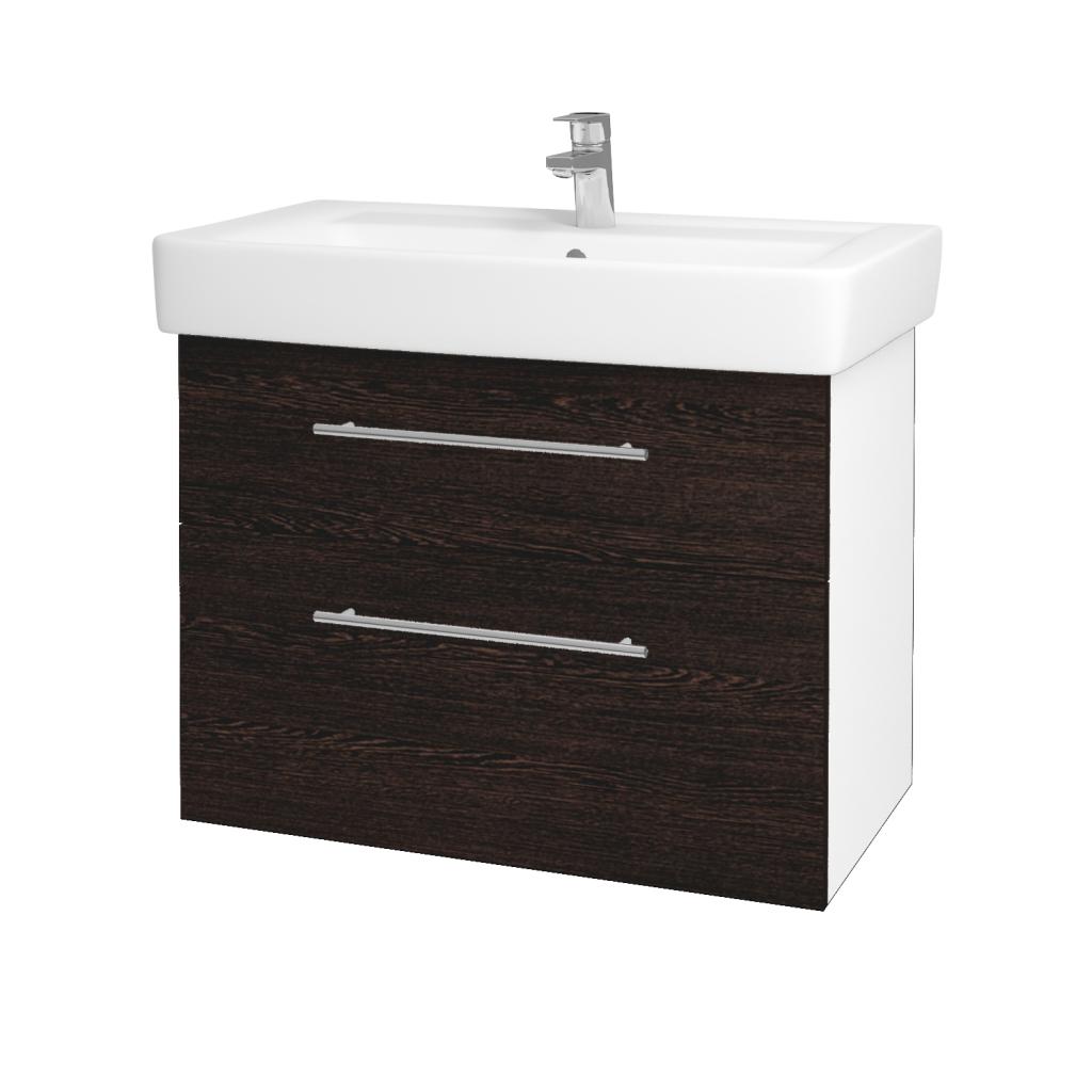 Dreja - Kúpeľňová skriňa Q MAX SZZ2 80 - N01 Bílá lesk / Úchytka T02 / D08 Wenge (60094B)