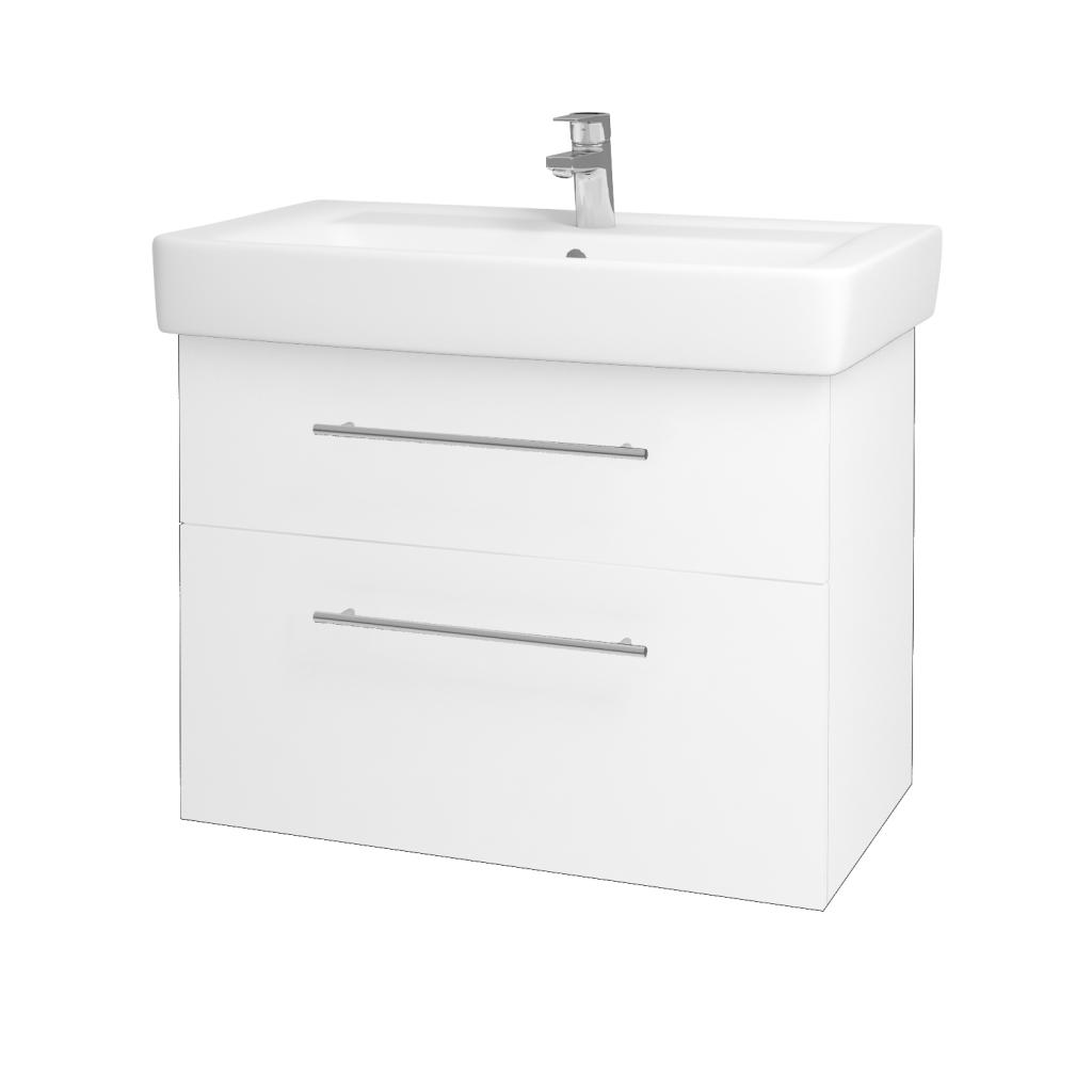 Dreja - Kúpeľňová skriňa Q MAX SZZ2 80 - N01 Bílá lesk / Úchytka T02 / L01 Bílá vysoký lesk (60193B)
