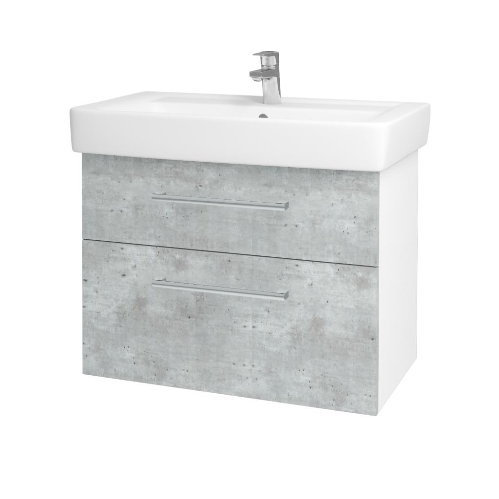 Dreja - Kúpeľňová skriňa Q MAX SZZ2 80 - N01 Bílá lesk / Úchytka T03 / D01 Beton (67505C)