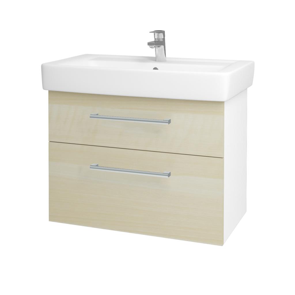 Dreja - Kúpeľňová skriňa Q MAX SZZ2 80 - N01 Bílá lesk / Úchytka T03 / D02 Bříza (60087C)