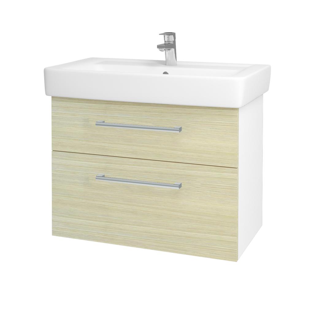Dreja - Kúpeľňová skriňa Q MAX SZZ2 80 - N01 Bílá lesk / Úchytka T03 / D04 Dub (60261C)