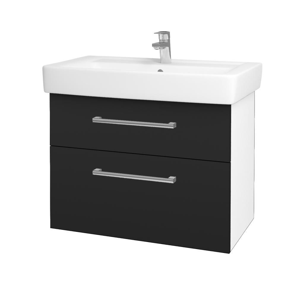 Dreja - Kúpeľňová skriňa Q MAX SZZ2 80 - N01 Bílá lesk / Úchytka T03 / L03 Antracit vysoký lesk (60186C)