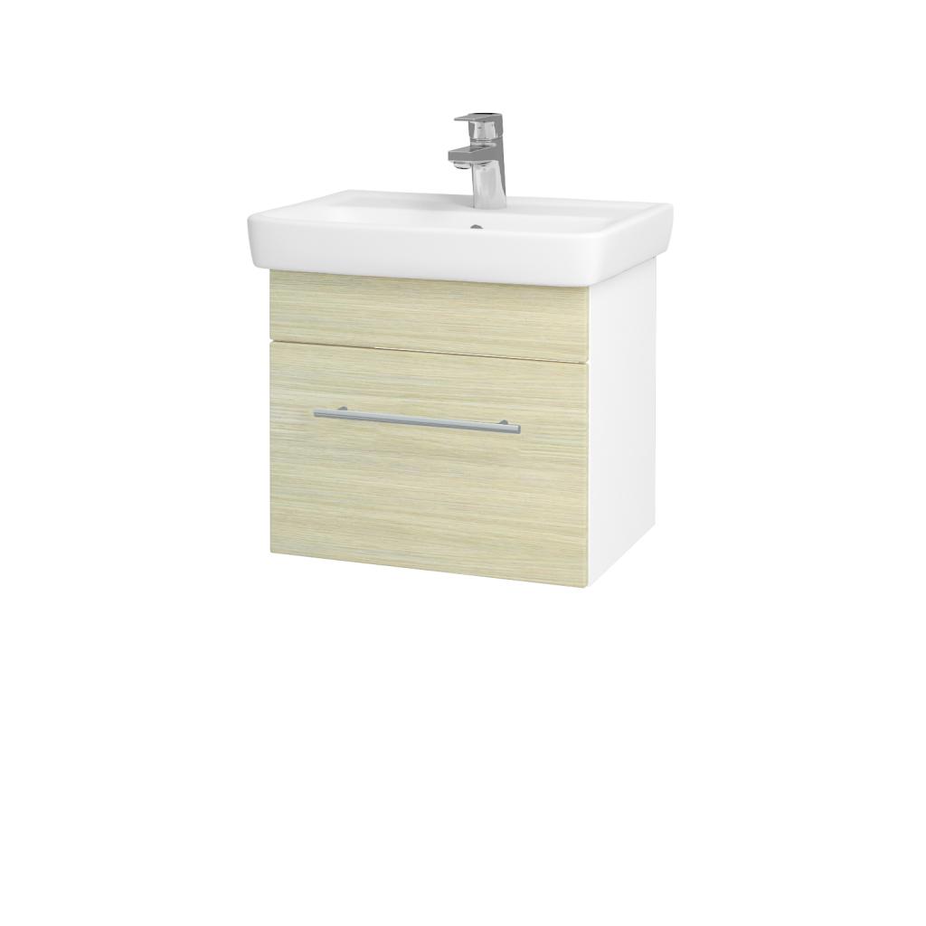 Dreja - Kúpeľňová skriňa SOLO SZZ 50 - N01 Bílá lesk / Úchytka T02 / D04 Dub (21842B)