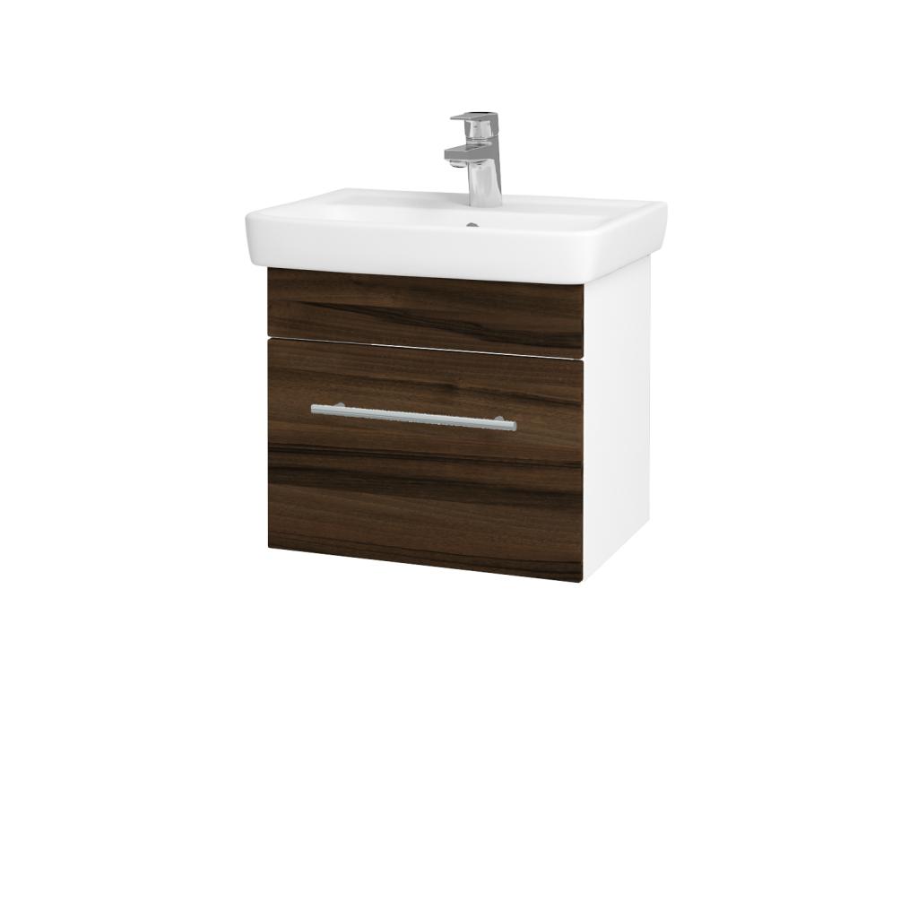 Dreja - Kúpeľňová skriňa SOLO SZZ 50 - N01 Bílá lesk / Úchytka T02 / D06 Ořech (21859B)
