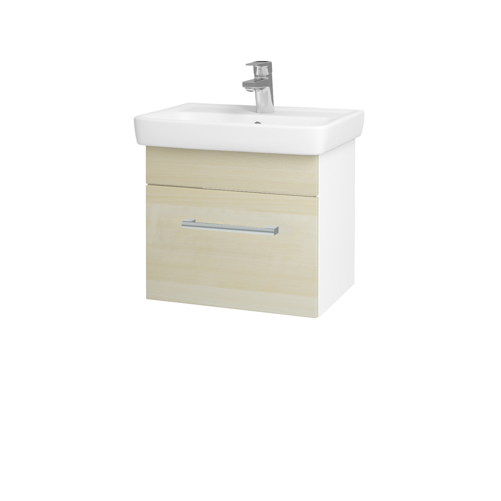 Dreja - Kúpeľňová skriňa SOLO SZZ 50 - N01 Bílá lesk / Úchytka T03 / D02 Bříza (21125C)