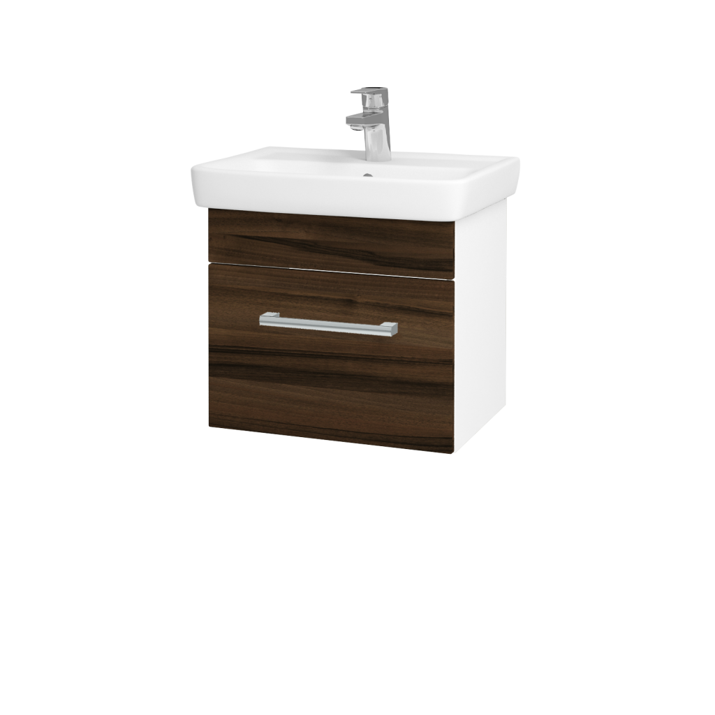 Dreja - Kúpeľňová skriňa SOLO SZZ 50 - N01 Bílá lesk / Úchytka T03 / D06 Ořech (21859C)