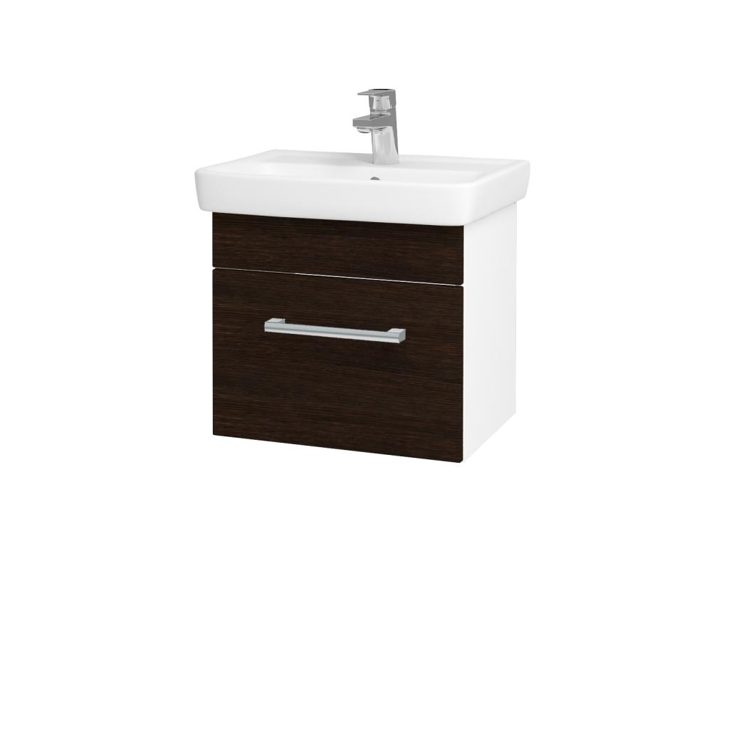 Dreja - Kúpeľňová skriňa SOLO SZZ 50 - N01 Bílá lesk / Úchytka T03 / D08 Wenge (21132C)