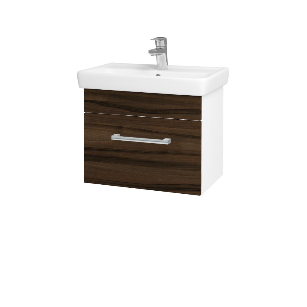 Dreja - Kúpeľňová skriňa SOLO SZZ 55 - N01 Bílá lesk / Úchytka T03 / D06 Ořech (21873C)