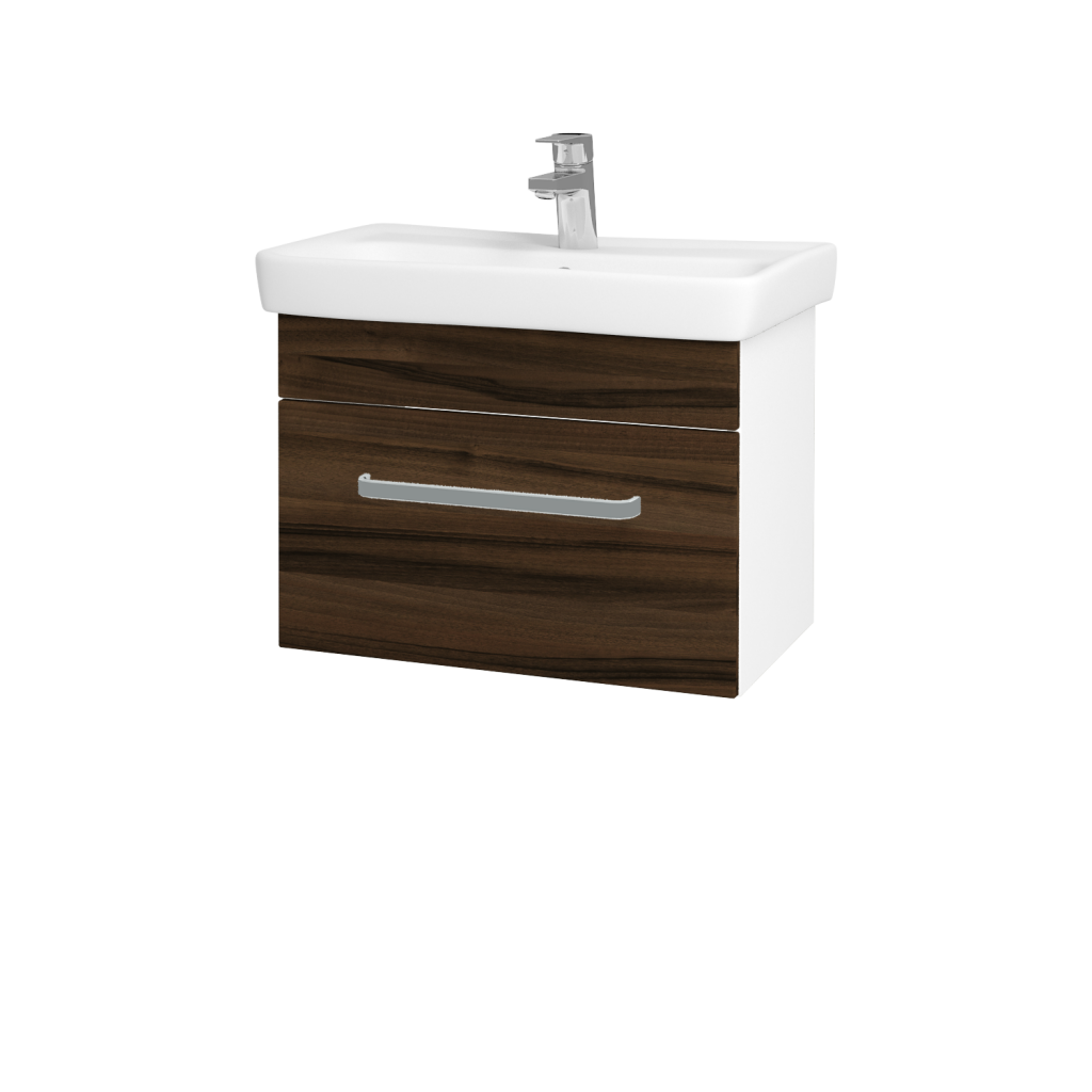 Dreja - Kúpeľňová skriňa SOLO SZZ 60 - N01 Bílá lesk / Úchytka T01 / D06 Ořech (21897A)