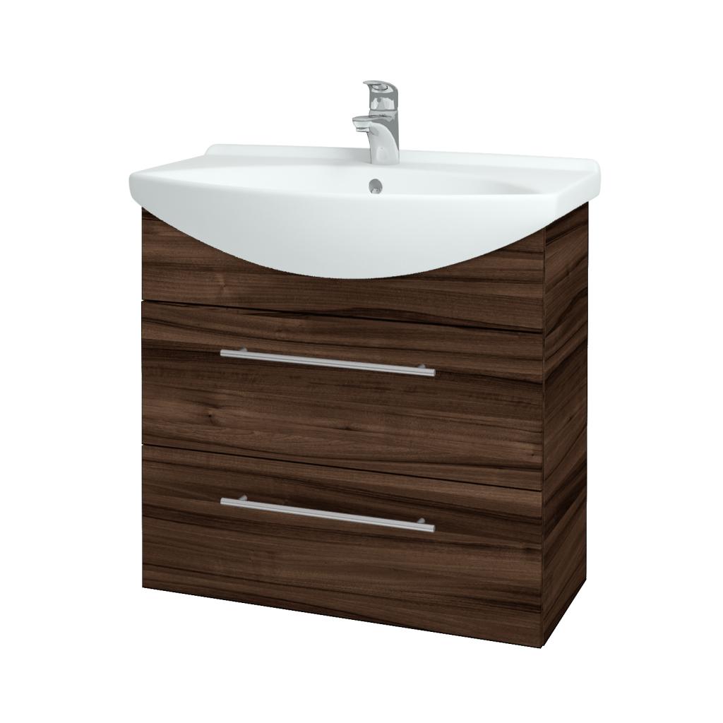 Dreja - Kúpeľňová skriňa TAKE IT SZZ2 75 - D06 Ořech / Úchytka T02 / D06 Ořech (133948B)