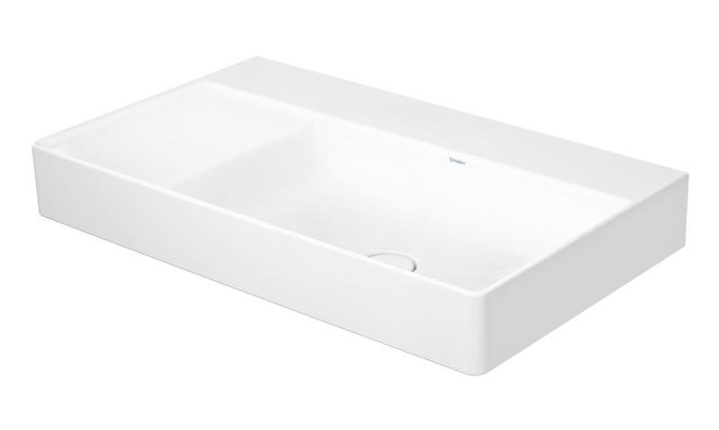 DURAVIT - DuraSquare Umývadlo nábytkové 800x470 mm, pravé, DuraCeram, s WonderGliss, alpská biela (23498000791)