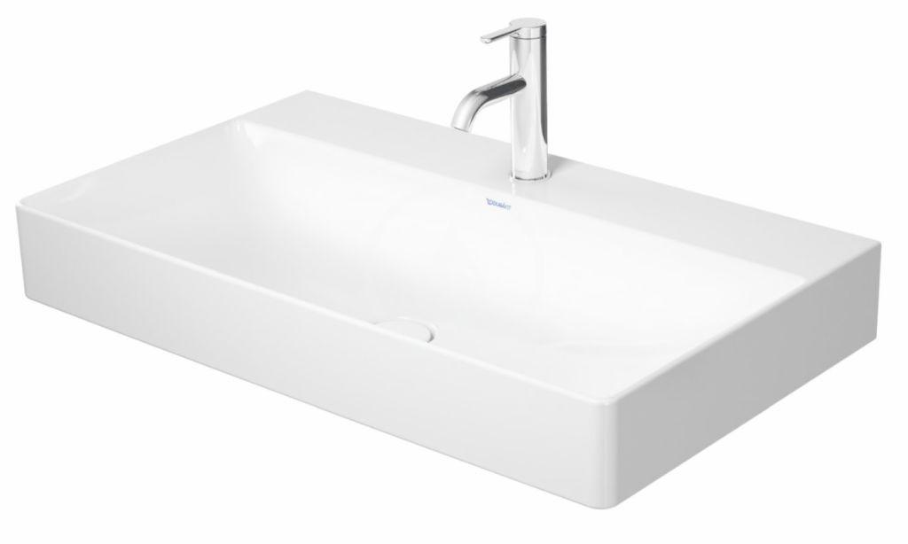 DURAVIT - DuraSquare Umývadlo nábytkové 800x470 mm, s 3 otvormi na batériu, DuraCeram, s WonderGliss, alpská biela (23538000731)