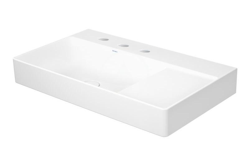 DURAVIT - DuraSquare Umývadlo nábytkové 800x470 mm, s 3 otvormi na batériu vľavo, DuraCeram, s WonderGliss, alpská biela (23488000731)