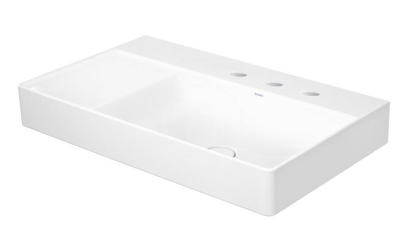 DURAVIT - DuraSquare Umývadlo nábytkové 800x470 mm, s 3 otvormi na batériu vpravo, DuraCeram, s WonderGliss, alpská biela (23498000731)