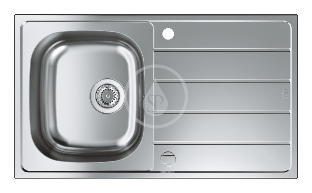 GROHE - Dřezy Drez K200 s automatickým odtokom, 860x500 mm, kefovaná nerezová (31552SD1)