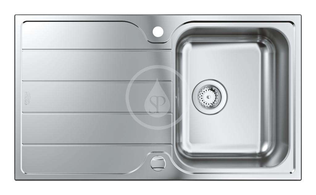 GROHE - Dřezy Drez K500 s automatickým odtokom, 860x500 mm, kefovaná nerezová (31571SD1)