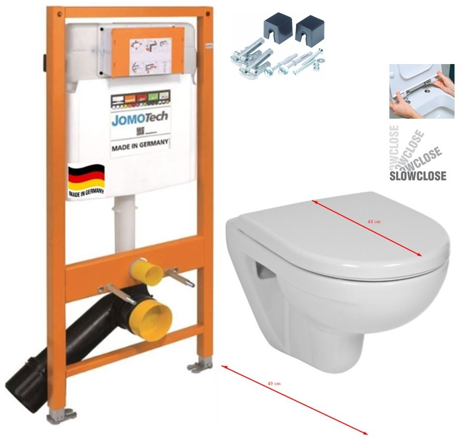 JOMOTech modul pre závesné WC bez sedátka + WC JIKA LYRA PLUS 49 + SEDADLO duraplastu SLOWCLOSE (174-91100700-00 LY4)