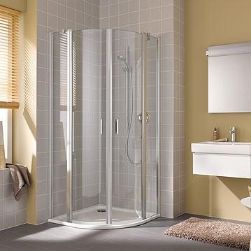 Kermi Štvrťkruh Cada XS P55 08020 775-800 / 2000 biela ESG číre Clean Štvrťkruh (kyvné dvere s pevnými poľami) (CCP55080202PK)